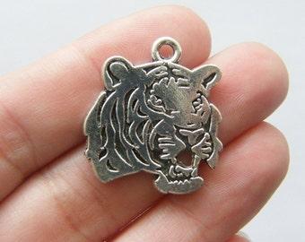 BULK 20 Tiger charms antique silver tone A150