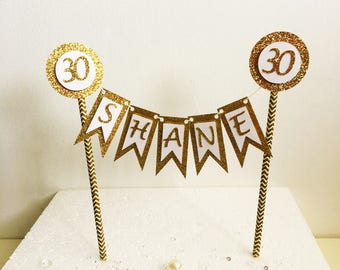 Personalised Birthday Cake Topper, Bunting Decoration, Customised, Any Name, Any Age, Any Color, Cake Decor, Party Ideas