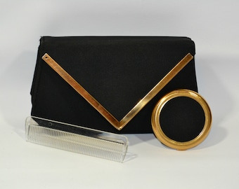 1960s Black Accordion Clutch Purse with Gold Accents, Mirror Compact and Comb Accessories