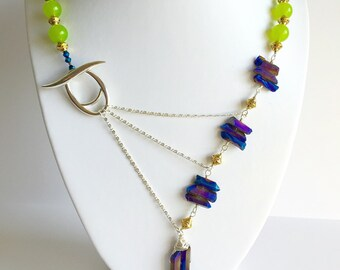 Lime Green & Peacock Blue Crystal Adrienne Adelle Signature Necklace with Gold Accents - Lemon Jade, Peacock Druzy Quartz - Sterling Silver