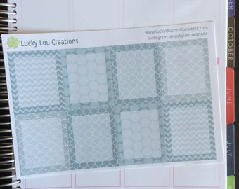 Set of 8 Full Daily Box Patterned Stickers designed for Erin Condren Vertical Life Planner - GRAY