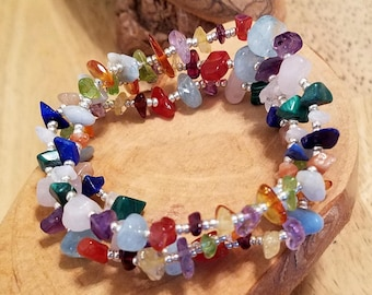 Melange bright and pretty natural gemstone chip stretch bracelets set of three available in FOUR different sizes!