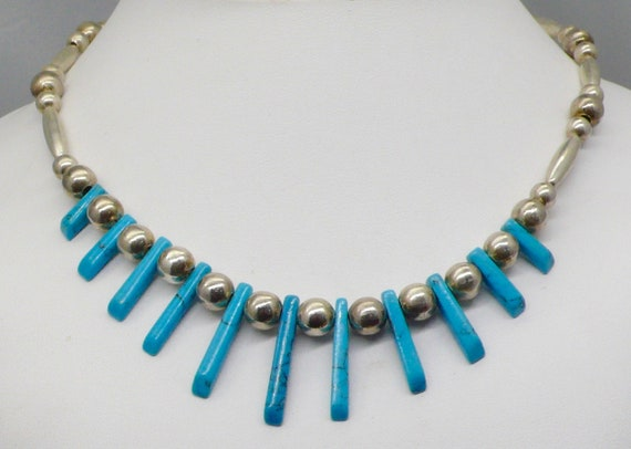 Vintage Sterling Silver Ball and Howlite Turquoise Stick Necklace