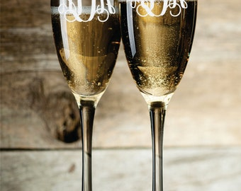 Personalized Champagne Glasses Champagne Flutes Monogram Toasting Glasses Set of 2