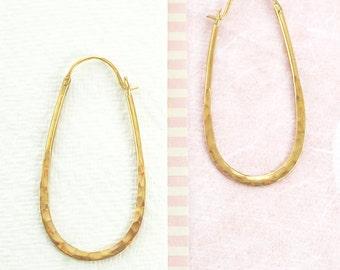 Oval Hoop Earrings, Gold Hoops, Gold Earrings, Gold Jewelry, Textured Earrings, Simple Earrings, Oval Earrings, 925 Silver, Geometric, Gifts