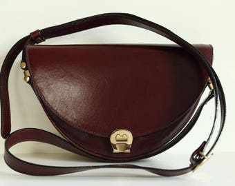 Aigner Cross Body Bag in Ox Blood Bordeaux Leather
