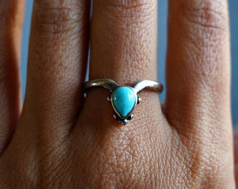 Aenea Sterling Silver Ring Turquoise Ring Boho Ring Bohemian Jewelry