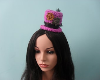 Pink Crochet Steampunk Mini Top Hat