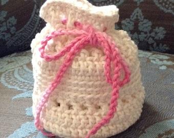 100% Cotton Pouch, Purse, Bag, Crochet, Handmade, Made in CA