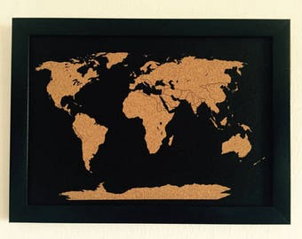 World map pin board etsy map cork board beautiful decorative push pin to remember the places you visited 944 x 13 inch hang on your wall gift 20 push pin flags gumiabroncs Choice Image