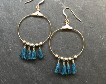 Hoop earrings with hooks petrol blue