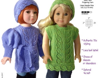 Pixie Faire Genniewren Designs Yolande Lacy Tunic & Hat  Doll Clothes Knitting Pattern for 18 inch American Girl Dolls - PDF