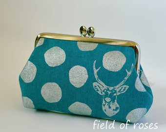 Clasp Cosmetic Purse Turquoise Deer Polkda Dots Metallic Silver Frame Bag Cosmetic Bag