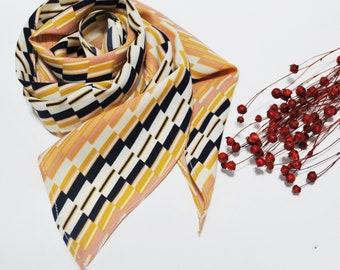 Wave Printed Neckchief, Handbag Scarf, Skinny Scarf, Chiffon Scarf