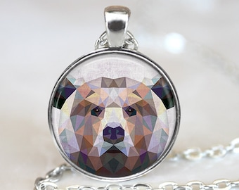 Geometric Bear Pendant, Bear Art Necklace, Bear Jewelry, Polygon Bear Art Pendant, Geometric Bear Art, Bear Portrait, Bronze, Silver, 025