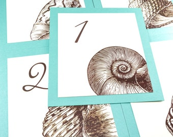 Seashell Table Number Wedding Decor Reception Sign Cards Made to Order Beach Seashore Seaside