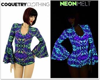 UV Glow Neon Melt Gypsy Sleeve Romper with V Neckline Rave Festival Onsie - 154959