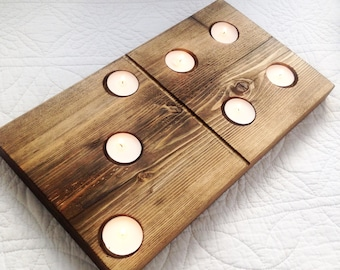 Reclaimed timber wooden domino T light candle holders