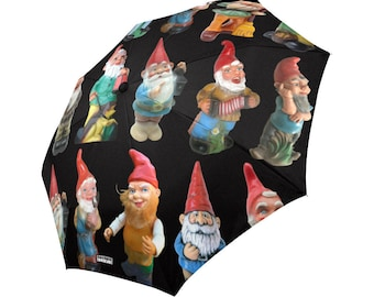 Vintage Garden Gnomes Rain Umbrella - photo-realistic gnomes - foldable umbrella - black, white or dark teal