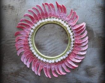Crocheted Lace Bracelet, Small, Flower, Handmade, Glass Beads, Original, Sparkle, Petals, Unique, One of Kind, Monicaj