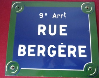 Enamel sign. Street. Paris. 50-60's. Street Shepherdess. 9 close to the theatre of the Folies Bergère. To the neighborhood of Pigalle