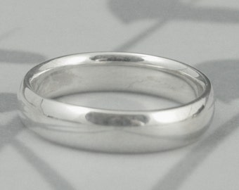 COMFORT FIT--Plain Jane 5mm Wide Solid Sterling Silver Wedding Band--Rounded Traditional Ring--Custom made in YOUR size