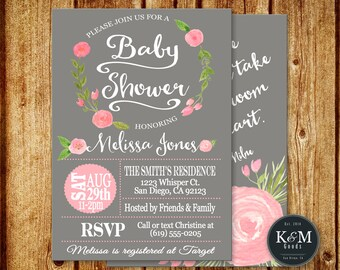 Pink and Gray Floral Baby Shower Invitation / Printable / Digital File