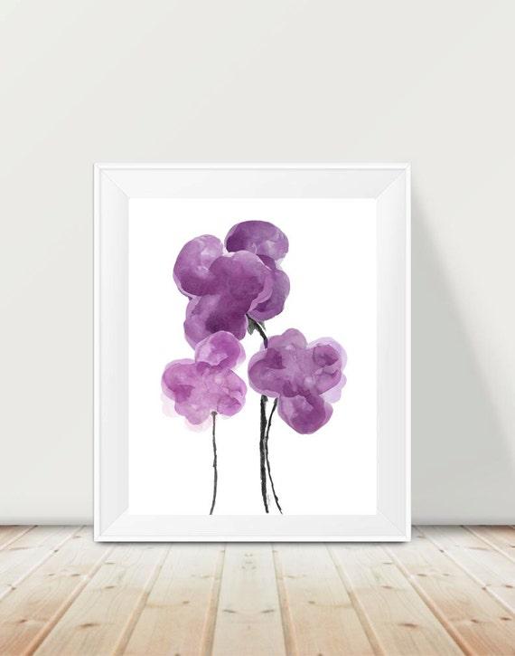 Contemporary Purple Flower Print, 11x14
