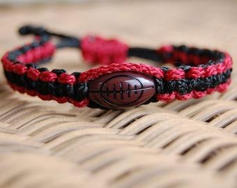 Maroon and Black Football Bracelet