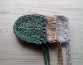 Set Of 3 Newborn Hats, Newborn Classic Bonnets, Newborn Photo Props, Newborn Boy Hat, Newborn Girl Hat, Knitted Newborn Hats