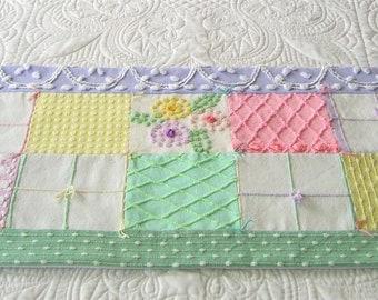 Jelly Bean Colors - Vintage Chenille Easter / Spring Table or Dresser Runner