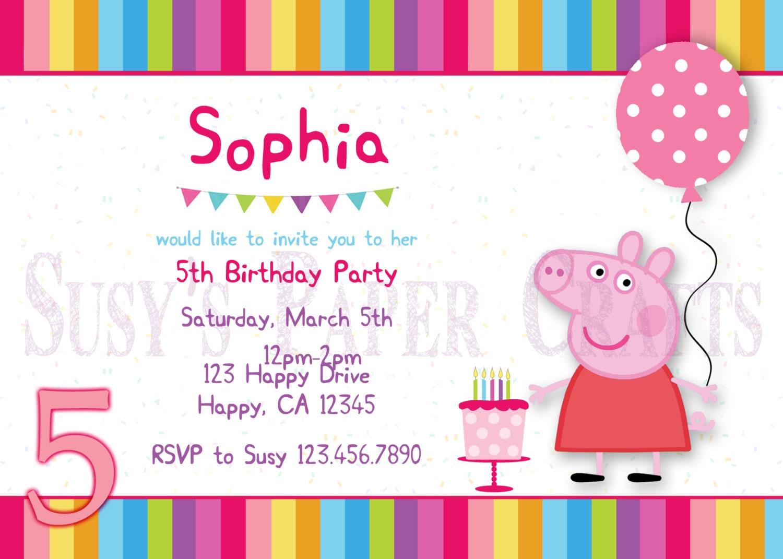 Peppa Pig Birthday Invitation Digital File You Print