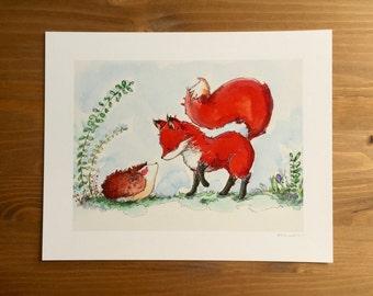 "Fox Watercolor Print ""Fox & Hedgehog Say Hello"" 8x10 by Kendra Minadeo Nursery Art, Baby Art, Nursery Decor"