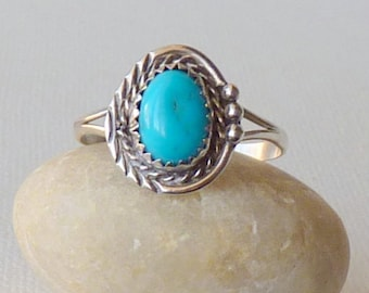 Native American Blue Turquoise Ring Navajo Sterling Silver Oval Ring Turquoise Ring Size 11 Southwestern Jewelry Old Navajo Ring 925