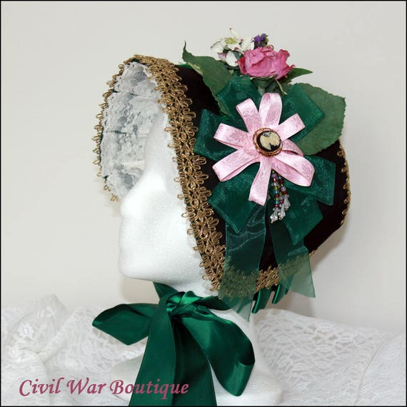 Victorian Style Hats, Bonnets, Caps, Patterns 1800s Civil War Victorian Olive Green Taffeta Handmade Bonnet Ribbon Lace Flowers Cameo New1800s Civil War Victorian Olive Green Taffeta Handmade Bonnet Ribbon Lace Flowers Cameo New $225.00 AT vintagedancer.com