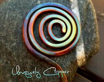 Copper Hair Pin, Copper Hair Stick, Hair Accessories, Copper Hair Accessory, Flame Painted Copper, Hair Pin, Shawl Pin, Flame Painted Patina