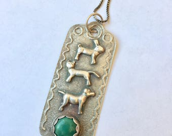 new rabbit cat and dog turquoise sterling pendant