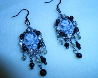 Black and Grey Chandelier Cameo Earrings