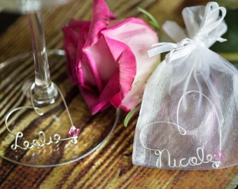 Personalized Wine Charm in Organza Bag