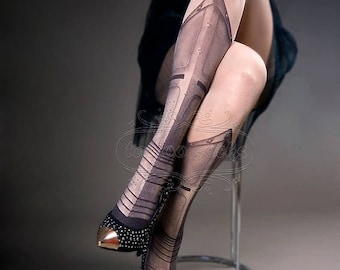 Tattoo Tights - Warrior Princess nude color one size full length printed tights closed toe pantyhose tattoo socks