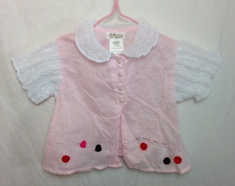 Baby Mini Par Catimini Pale Pink Button Front Blouse with Contrast Smocked Collar and Sleeves - Size 9 Months
