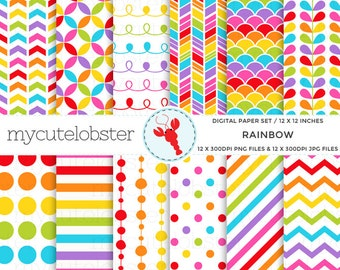 Rainbow Digital Paper Set - stripe, polka, chevron, arrow, scallop, rainbow, patterns - personal use, small commercial use, instant download