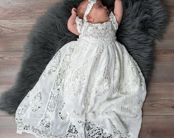 Grace Newborn Christening Gown, Girls Blessing Dress and Gowns, Girls Blessing Outfit, Lace Gown