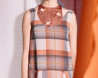 Maarimaia Racer Neck Handkerchief Midi Copper| Flowy Dress | Summer Dress | Handkerchief Hem| Embellished dress | Drop Waist | stylish dress