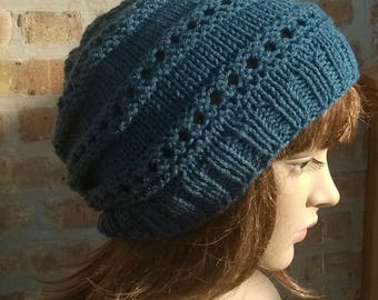 Knit hat, knit slouchy hat, womens slouchy hat, winter hat, teal slouchy hat, slouchy beanie, womens hat, boho slouchy hat, handmade slouch