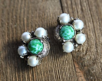 Deco Style Art Glass and faux Pearl Vintage clip-on Earrings ~ Green Oil Spot Glass Cab Free Moving Pearls Gift for Her