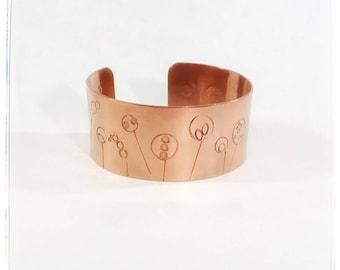 wide copper cuff - stick flower - copper cuff - 7th anniversary gift - flower cuff - floral jewelry