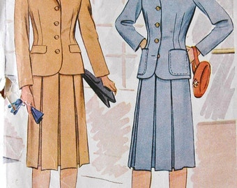 1940's McCall Two Piece Suit Pattern - Bust 30