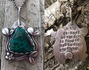 Malachite necklace, sprout necklace, leaf necklace, inspirational necklace, in the darkness of the dirt it knew it had to find the light