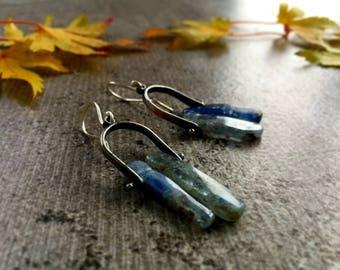 Rustic Sterling Silver and Kyanite Earrings, Oxidised Dangle Earrings Blue Moon Earrings